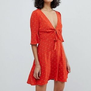 Free People All Yours Red Polka Dot Mini Dress